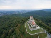 Vista aérea de la ciudad vieja Medvedgrad fotografía de archivo libre de regalías