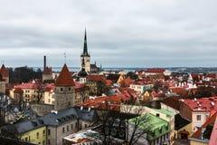 Vista aérea de la ciudad vieja de Tallinn Fotografía de archivo libre de regalías