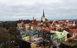 Vista aérea de la ciudad vieja de Tallinn Fotografía de archivo