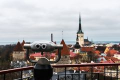 Vista aérea de la ciudad vieja de Tallinn Foto de archivo