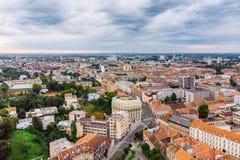 Vista a?rea de la ciudad vieja de Zagreb fotos de archivo libres de regalías