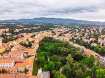 Vista a?rea de la ciudad vieja de Zagreb imágenes de archivo libres de regalías