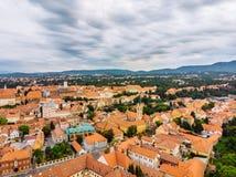 Vista a?rea de la ciudad vieja de Zagreb foto de archivo