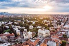 Vista a?rea de la ciudad vieja de Zagreb fotografía de archivo