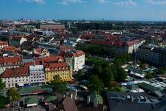 Vista aérea de la ciudad Viktualienmarkt de Munich imagen de archivo