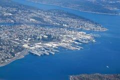 Vista aérea de la ciudad Washington de Bremerton imagen de archivo libre de regalías