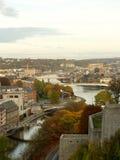 Vista aérea de la ciudad y de los puentes de Namur, Bélgica, Europa imagen de archivo