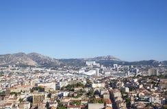 Vista aérea de la ciudad y del nuevo estadio, Francia de Marsella Imagen de archivo