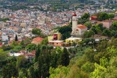 Vista aérea de la ciudad de Zakynthos Zante, Grecia Mañana del verano en el mar jónico Panorama hermoso del paisaje urbano de la  Foto de archivo libre de regalías