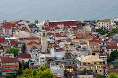 Vista aérea de la ciudad de Zakynthos Zante, Grecia Mañana del verano en el mar jónico Panorama hermoso del paisaje urbano de la  Fotos de archivo