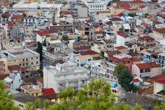 Vista aérea de la ciudad de Zakynthos Zante, Grecia Mañana del verano en el mar jónico Panorama hermoso del paisaje urbano de la  Imagenes de archivo