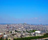 Vista aérea de la configuración de París de la torre Eiffel Panorama de la ciudad foto de archivo libre de regalías