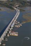 Vista aérea de la construcción de puente Fotos de archivo libres de regalías