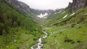 Vista aérea de la corriente de la montaña en las montañas alpinas almacen de metraje de vídeo