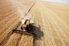 Vista aérea de la cosecha en campo Fotografía de archivo