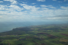 Vista aérea de la costa costa cerca de Bundaberg fotos de archivo libres de regalías