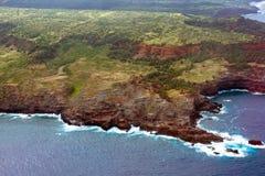 Vista aérea de la costa de la isla de Maui en Hawaii Imágenes de archivo libres de regalías