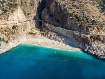 Vista aérea de la costa mediterránea turca de la playa de Kaputas en la provincia Kas/Turquía de Antalya fotografía de archivo libre de regalías