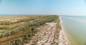 Vista aérea de la costa costa de la playa en la región de Kiliya, Bessarabia ucraniano metrajes
