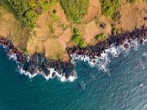 Vista aérea de la costa costa de Vasco da Gama en Goa la India Imagen de archivo libre de regalías