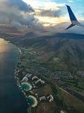 Vista aérea de la costa y de las nubes, Oahu, Hawaii foto de archivo