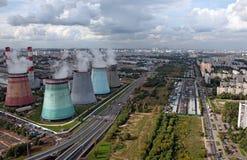 Vista aérea de la estación de la producción de energía Foto de archivo
