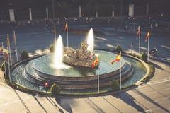 Vista aérea de la fuente de Cibeles en Plaza de Cibeles en Madrid adentro Foto de archivo libre de regalías