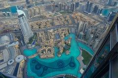 Vista aérea de la fuente de Dubai Imágenes de archivo libres de regalías