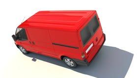Vista aérea de la furgoneta roja ilustración del vector
