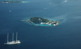 Vista aérea de la isla de Maldivas Fotografía de archivo