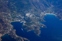 Vista aérea de la isla del IOS - Grecia fotos de archivo