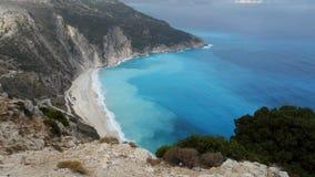 Vista aérea de la isla Grecia de Kefalonia de la playa de Myrtos Fotos de archivo