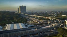 Vista aérea de la línea del MRT en Malasia Fotografía de archivo