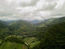 Vista aérea de la lluvia verde enorme Forest Mountain fotos de archivo