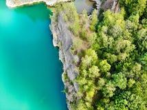 Vista aérea de la mina Sitio de la zambullida Ubicación famosa para los buceadores del agua dulce y la atracción del ocio foto de archivo libre de regalías