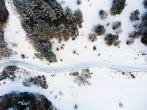 Vista aérea de la naturaleza del invierno Foto de archivo