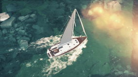 Vista aérea de la navegación media de lujo del barco de cruceros del puerto en salida del sol a través de la bahía ilustración 3D Fotos de archivo