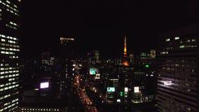 Vista aérea de la noche Tokio almacen de video