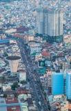 Vista aérea de la orilla de la ciudad de Ho Chi Minh alrededor del puerto de Nha Rong en la tarde Imagen de archivo
