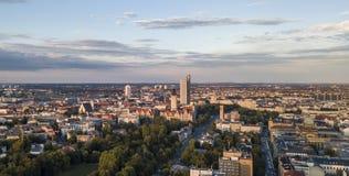 Vista aérea de la parte central de Leipzig imagen de archivo libre de regalías
