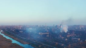 Vista aérea de la planta metalúrgica metrajes