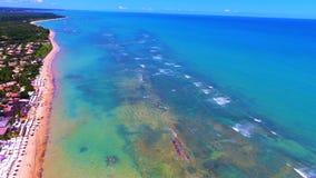 Vista aérea de la playa de Arraial d 'Ajuda, Porto Seguro, Bahía, el Brasil imágenes de archivo libres de regalías