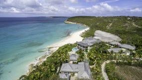 Vista aérea de la playa de Anguila Foto de archivo