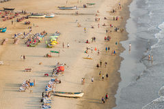 Vista aérea de la playa de Arambol en el estado de Goa, la India Fotografía de archivo