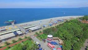 Vista aérea de la playa de Batumi almacen de video