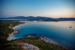 Vista aérea de la playa de Villasimius, Cerdeña, Italia imágenes de archivo libres de regalías