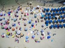 Vista aérea de la playa en Katerini, Grecia foto de archivo libre de regalías