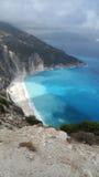 Vista aérea de la playa famosa Grecia de Myrtos Imagen de archivo