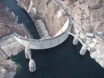 Vista aérea de la presa de Hoover Fotos de archivo libres de regalías