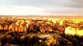 Vista aérea de la puesta del sol